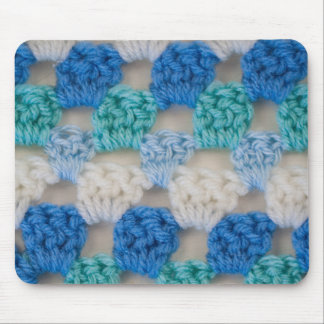 Abuelita azul del ganchillo de la turquesa mousepad