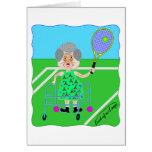 Abuelita del tenis tarjeta de felicitación
