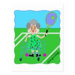 Abuelita del tenis tarjetas postales