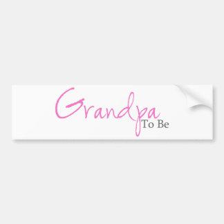 Abuelo a ser (escritura rosada) etiqueta de parachoque