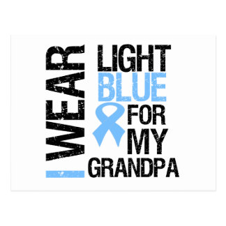 Abuelo azul claro de la cinta del cáncer de prósta tarjeta postal