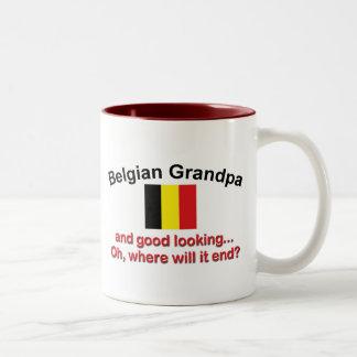 Abuelo belga apuesto taza de dos tonos