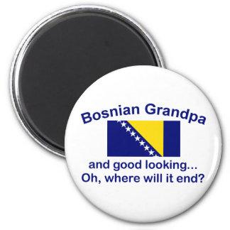Abuelo bosnio apuesto imán redondo 5 cm