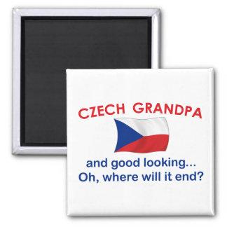 Abuelo checo apuesto imán cuadrado