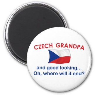 Abuelo checo apuesto imán redondo 5 cm