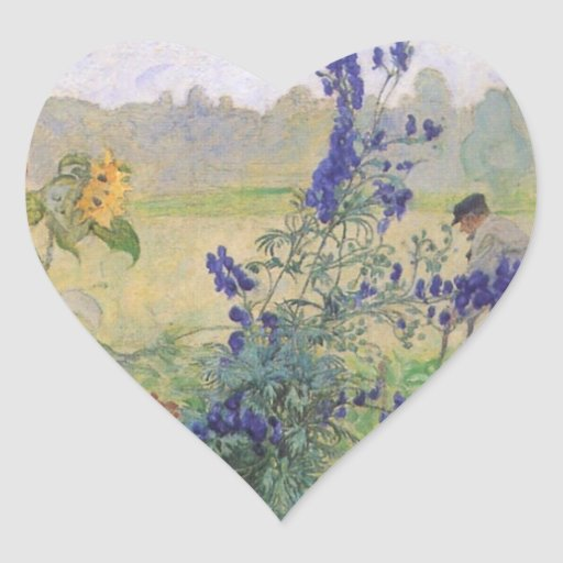 Abuelo con las flores 1909 pegatina en forma de corazón