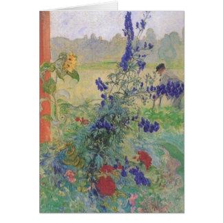 Abuelo con las flores 1909 tarjeta de felicitación