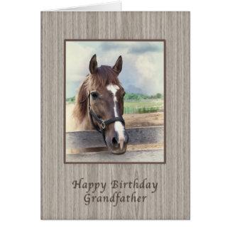 Abuelo, cumpleaños, caballo de Brown con el freno Tarjetas
