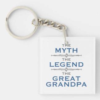 Abuelo de la leyenda del mito gran llavero cuadrado acrílico a una cara