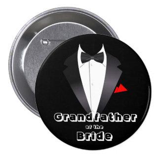Abuelo de la novia - botón pin redondo de 3 pulgadas