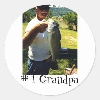 Abuelo de la pesca pegatina redonda