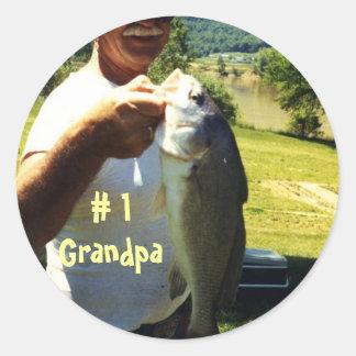 Abuelo de la pesca etiqueta redonda