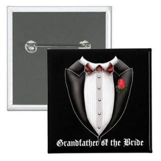 Abuelo del botón del smoking de la novia pin cuadrado