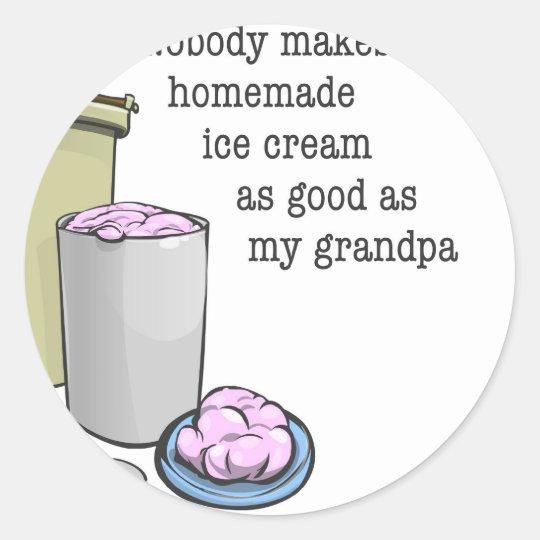 Abuelo el fabricante de helado pegatina redonda