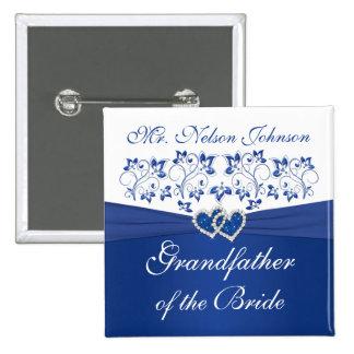 Abuelo floral blanco del azul real de la novia pin cuadrado