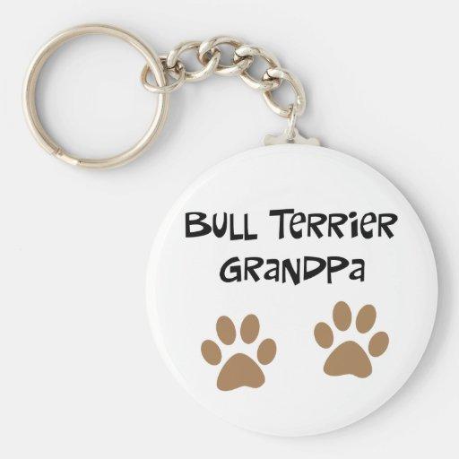Abuelo grande de Pawprints bull terrier Llavero Redondo Tipo Pin