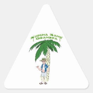 Abuelo hawaiano pegatinas de triangulo personalizadas
