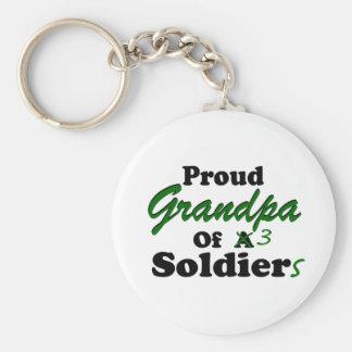 Abuelo orgulloso de 3 soldados llavero redondo tipo pin