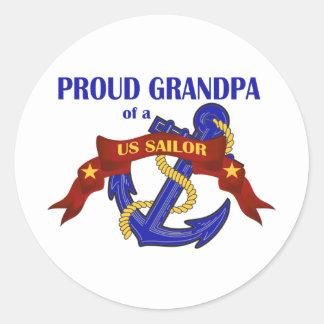 Abuelo orgulloso de un marinero de los E.E.U.U. Pegatina Redonda