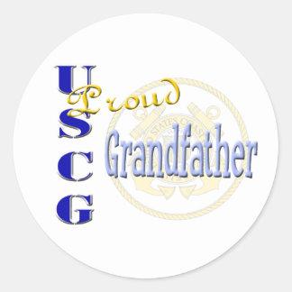Abuelo orgulloso de USCG Pegatina Redonda