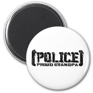Abuelo orgulloso - POLICÍA hecha andrajos Imán Redondo 5 Cm