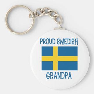 Abuelo sueco orgulloso llavero redondo tipo pin