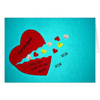 ¡Abuelo, te amo con todo mi corazón! Tarjeta De Felicitación