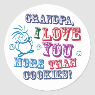 ¡Abuelo te amo más que las galletas! Etiquetas Redondas
