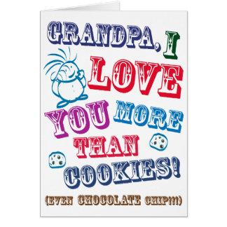 ¡Abuelo te amo más que las galletas! Tarjeta De Felicitación