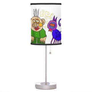 abuelo y el gato lámpara de mesa