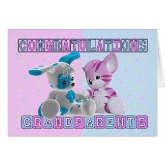 Abuelos a la enhorabuena de los gemelos tarjeta de felicitación