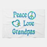 Abuelos del amor de la paz toallas de cocina