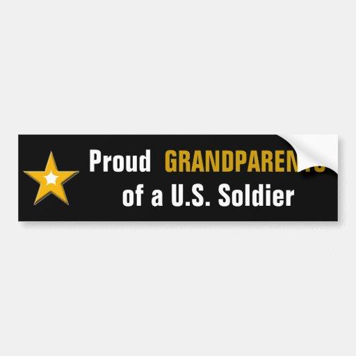 Abuelos orgullosos de un soldado de los E.E.U.U. Etiqueta De Parachoque