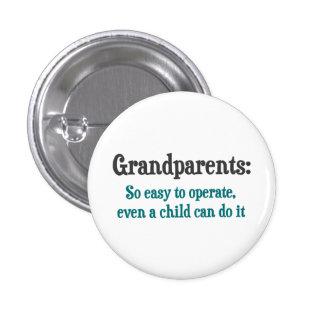 Abuelos tan fáciles actuar pin redondo de 1 pulgada