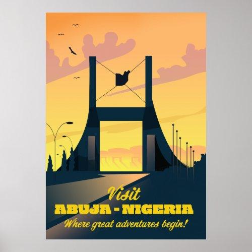 Abuja Nigeria City Gate Vintage travel poster