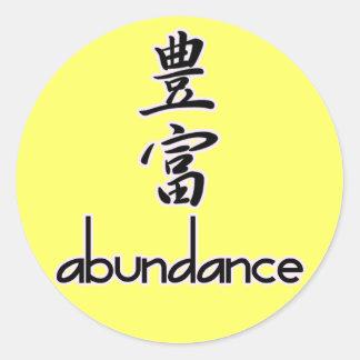 Abundance and Riches, in Kanji Classic Round Sticker