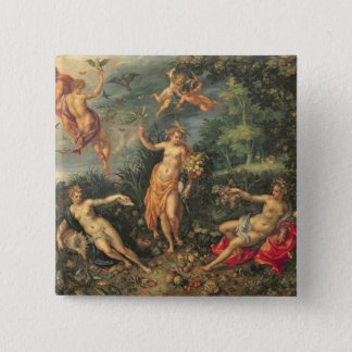 Abundance and the Four Elements, c.1606 (oil on co Pinback Button