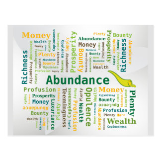 Abundance Word Cloud Green Yellow Colors Postcards