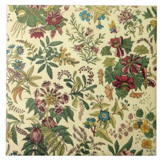 Abundancia floral pasada de moda azulejos ceramicos