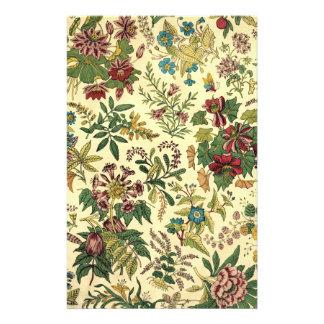 Abundancia floral pasada de moda papelería