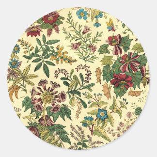 Abundancia floral pasada de moda pegatina redonda