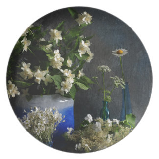 Abundancia floral plato de cena