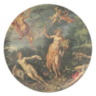 Abundancia y los cuatro elementos, c.1606 (aceite  platos para fiestas