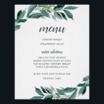 "Abundant Foliage Menu Sign<br><div class=""desc"">Charming wedding menu sign displays your dinner selections in chic calligraphy and traditional block lettering. Adorned with watercolor botanical greenery and eucalyptus leaves that match our Abundant Foliage wedding collection.</div>"
