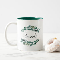 Abundant Foliage Personalized Two-Tone Coffee Mug