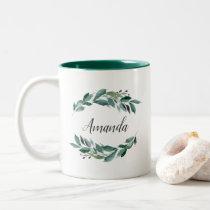 Abundant Foliage Personalized Two-Tone Coffee Mug