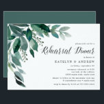"""Abundant Foliage   Rehearsal Dinner Invitation<br><div class=""""desc"""">Elegant botanical rehearsal dinner invitation features lush green eucalyptus leaves and foliage illustrated in watercolor. Personalize with your ceremony rehearsal and rehearsal dinner details aligned at the right. Invitations reverse to solid forest green.</div>"""