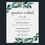 "Abundant Foliage Signature Cocktail Menu Sign<br><div class=""desc"">Invite guests to grab a favorite libation with our charming wedding bar sign. 11x14 bar sign features &quot;signature cocktails&quot; in calligraphy script lettering. Personalize with your specialty drinks with six custom text fields, and add your initials and wedding date along the bottom. A chic addition to your wedding bar setup,...</div>"