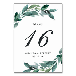 Abundant Foliage Table Number Card