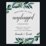 "Abundant Foliage Unplugged Wedding Ceremony Sign<br><div class=""desc"">Planning an unplugged ceremony but not sure what wording to use to let your wedding guests know to put away their phones? This chic poster takes care of it for you in style. Elegant botanical design features &quot;welcome to our unplugged ceremony&quot; in calligraphy and block typefaces with your names and...</div>"